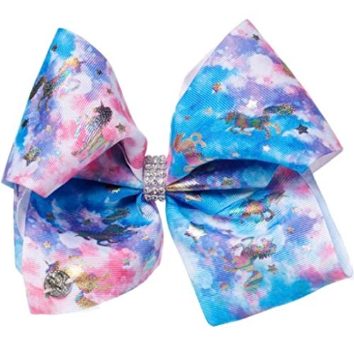 - JoJo Siwa Large Cheer Hair Bow for Girls - Blue, Pink, Purple Tie-Dye with Silver Iridescent Unicorns