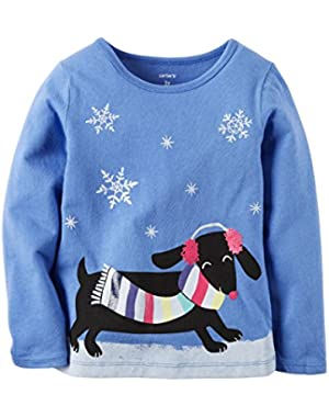 Girl Long Sleeve Snow Dog Graphic Tee; Royal Blue