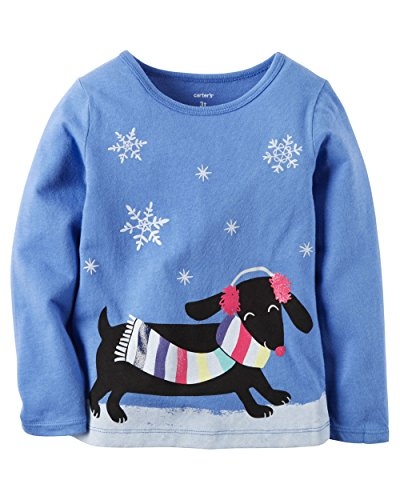Carters Long-Sleeve Snow Dog Graphic Tee; Royal Blue (6M)