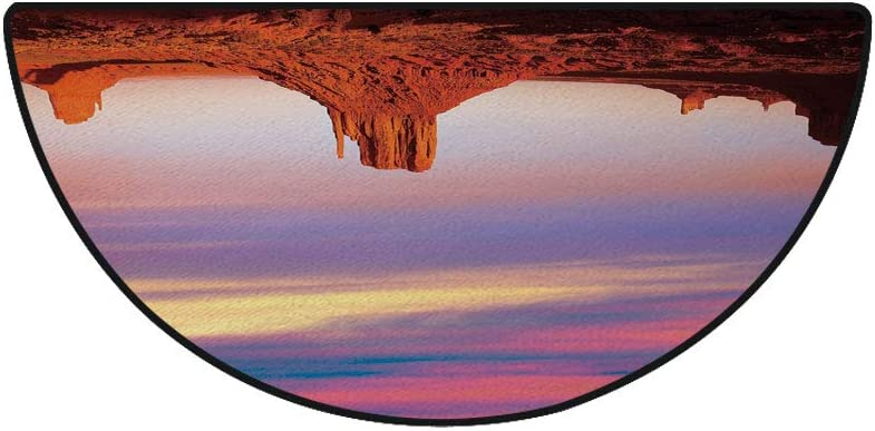 "18"" x 36"" Half Round Door Mat,Monument Valley West Mitten and Merrick Butte Sunset Utah Desert Outdoor/Indoor Entry Rug,for Home Kitchen Office Standing Desk Mats,Dark Orange Pink Blue"
