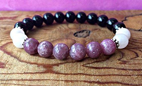 JP_BEADS Black Tourmaline, Lepidolite & Rose Quartz Bracelet, Root + Heart Chakra Jewelry 6mm