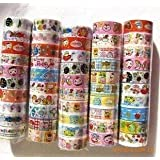 Domire 10pcs Cartoon Decorative Washi Rainbow Sticky Paper Masking Adhesive Tape Scrapbooking DIY