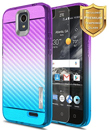 NageBee [Carbon Fiber] Case Compatible with ZTE Maven 3 (Z835) /Overture 3 /Prelude Plus LTE (Z851) /Prestige 2 (N9136) w/[Tempered Glass Screen Protector] Frost Clear Ultra Slim Cover (Prestige Carbon)
