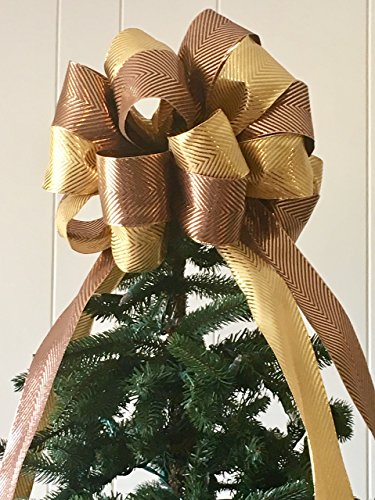 Metallic Luxe Tree Topper Bow Large Gold/Bronze / The Frosty Collection/ Custom Bows By Jami