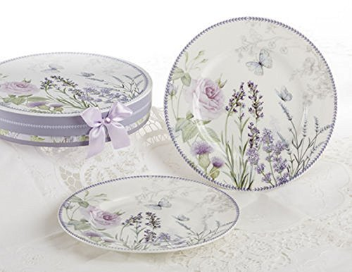 Delton Products Lavender and Rose Pattern Porcelain 2-Dessert Plates with Matching Keepsake Box
