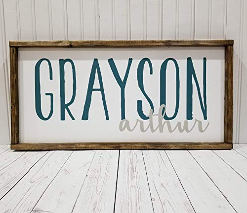 (Nursery Name Sign, First and Middle names, boy or girl room decor, Farmhouse sign, rustic decor, fixer upper style)