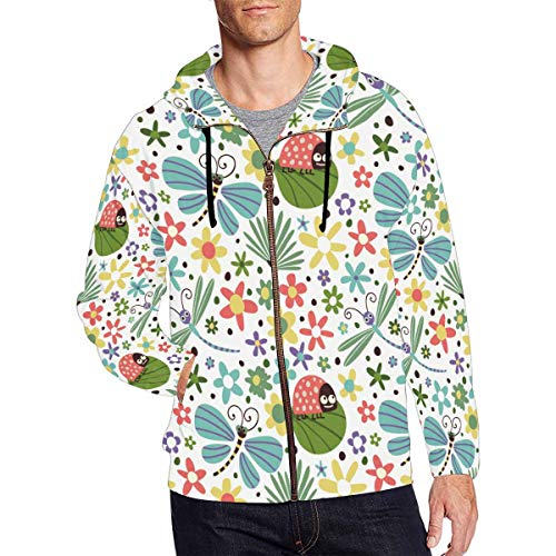 - InterestPrint Men's Casual Long Sleeve Pocket Fit Full Zip Hoodies Flowers Dragonfly Butterfly and Ladybug S
