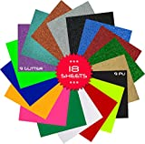 Heat Transfer Vinyl Iron On or Heat Press 12 x 10 Inches Pack of 18 Sheets ( ...