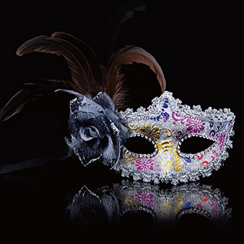 KAKA(TM) Mask Costume Cosplay Ball Dancing Party [Halloween] Princess Masks Facial Masquerade Glitter - Feather
