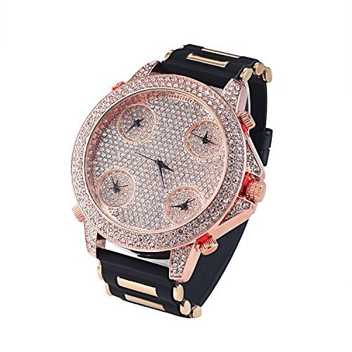 Rose Gold Finish 5 Timezone Watch Bullet Rubber Band Iced Out Lab Diamonds 60mm