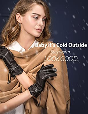 YISEVEN Women's Deerskin Leather Dress Gloves Long Cuff Zipper