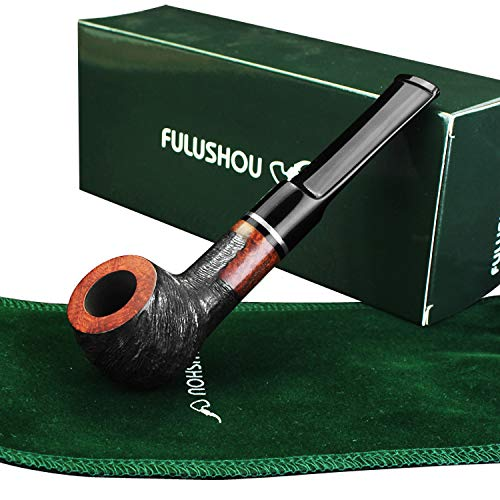 FULUSHOU Mediterranean Briar Wood Tobacco Pipe, Simple Mini Carving Tobacco Pipe,Dad Gift