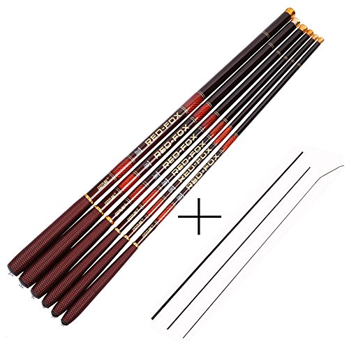 Goture 1 Piece Hard Carp Fishing Pole, Carbon Fiber Ultralight Telescopic Fishing Rod 10FT 12FT 15FT 18FT 21FT 24 FT+ Free Tip Set (Top 3 Segments)