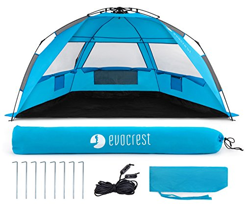 Evocrest Easy Setup Beach Tent - Large Beach Cabana Sun Shelter with UPF 50+ Protection - Portable & Lightweight - Perfect for 2-3 People by EVOCREST