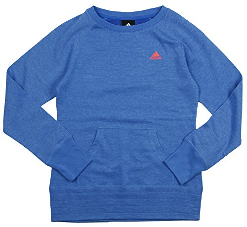 Adidas Embroidered Pullover (Adidas Big Girl's Long Sleeve Pullover Crew (Large (14), Blue Heathered))