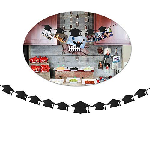 OULII Graduation Party Banner Graduation Hat Shaped Bunting Garland Photo Props Backdrop with Clips Graduation Party Favors -