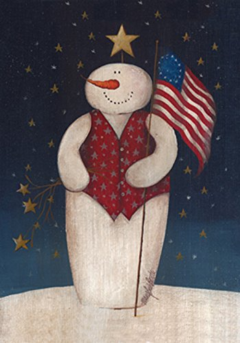 Toland Home Garden Flag Waving Snowman 28 x 40 Inch Decorative Patriotic Winter House (Christmas Patriotic Snowman)
