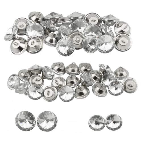 (XLX 50PCS 2 Values Crystal Glass Diamond Shape Decorated Stainless Steel Modern Single Hole Round Button with Metal Loop for Crafts Furniture Headboard Clothing)