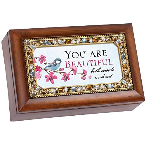 Cottage Garden You are Beautiful Inside Woodgrain Jewelry Music Box Plays Fur Elise