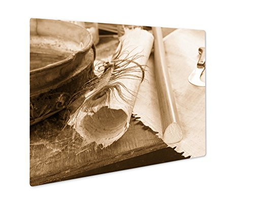 (Ashley Giclee Papyrus Paper, Wall Art Photo Print On Metal Panel, Sepia, 8x10, Floating Frame, AG6152665)