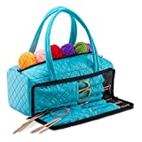 DeNOA Lightweight Quilted Craft Tote - Sewing and Knitting Yarn Storage Bag - Needle and Accessory Pocket - Aqua