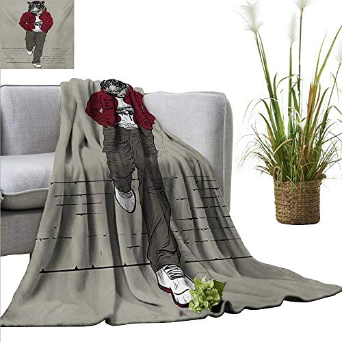 AndyTours Flannel Throw Blanket,Modern,Hipster Tiger in Sportswear Taking a Walk Adaptation to Urban City Theme,Ruby Sage Green Black,Winter Luxury Plush Microfiber Fabric 35