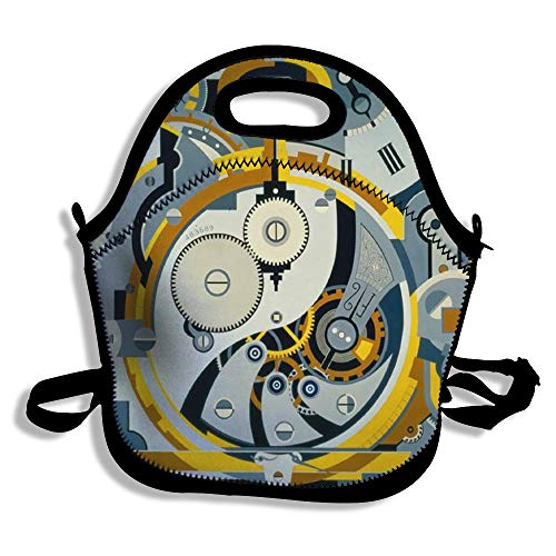 Amerbuty Portable Lunch Handbag Waterproof Neoprene Insulated Picnic Meal Prep Handbag Storage Bag Food Bag for Work Office TravelGear Symbol Illustrations Black