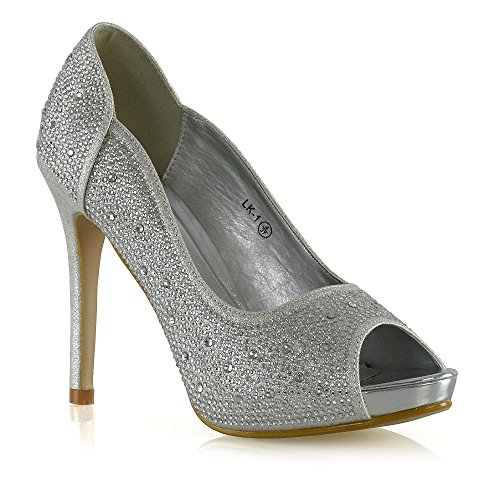 Pump Womens Stiletto Peep GLAM ESSEX Elegant Glitter Heel Diamante Toe Silver Platform Heels Shoes axvqWWBAw