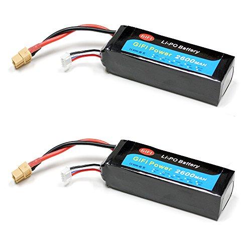 2-Pack LiPo Battery 2600mAh HIGH CAPACITY 25C 11.1V For DJI PHANTOM 1 & PHANTOM FC40 (2pcs Batteries) -