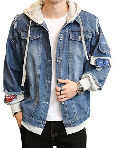 Men's Denim Hooded Jacket Button Down Classy Hoodies Casual Fake Two Pieces Jeans Coats Outwear