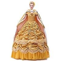 Angelaicos para mujer en capas Vestidos de baile Palacio Queen traje enagua enagua (M, Satin Golden)