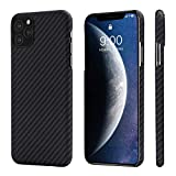 "PITAKA Slim Case Compatible with iPhone 11 Pro 5.8"", MagCase Aramid Fiber [Real Body Armor Material] Phone Case, Minimalist Strongest Durable Snugly Fit Snap-on Case - Black/Grey(Twill)"