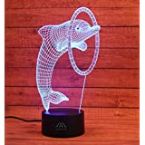 Dolphin 3D Night Light 7 Color LED Touch Table Desk Lamps Energy Saving Lights Fashion Creative Home Decoration Gift…