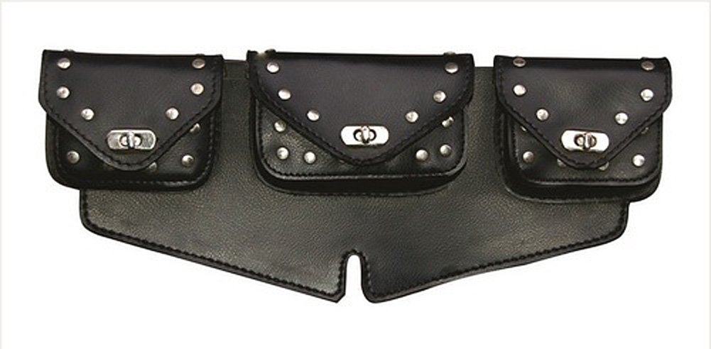 Black Studded Motorcycle Windshield Bag Triple Compartment