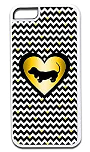 Black and White Chevrons with Hearts-Black/Gold Print Heart with Puppy Silhouette- Case for the APPLE iphone 4s ONLY!!! NOT COMPATIBLE WITH THE iphone 4s !!!-Hard White Plastic Outer Case with Tough Black Rubber Lining