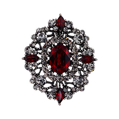 EVER FAITH Women's Rhinestone Crystal Elegant Banquet Hollow Filigree Brooch Red Antique Silver-Tone