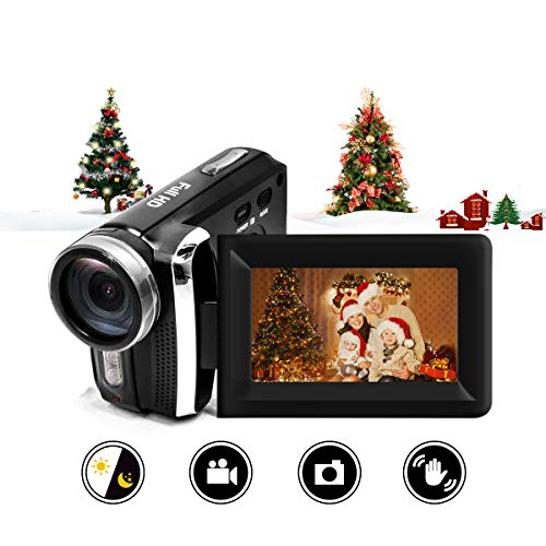 Video Camera Camcorder Vmotal 12MP Rechargeable Digital Camera Recorder Full HD 1080P 2.7 Inch 270 Degree Rotation LCD Flip Screen for Kids/Beginners/Seniors (Black) (Hd Camcorder Flip)