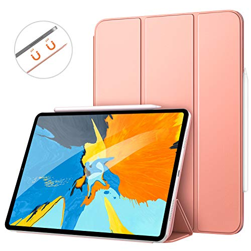 MoKo Smart Folio Case Fit iPad Pro 11 2018 - [Support Magnetically Attach Charge/Pair] Slim Lightweight Shell Stand Cover Strong Magnetic Adsorption Auto Wake/Sleep for iPad Pro 11 Inch - Rose Gold