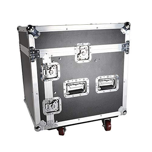 Aromzen New 12U Rack Case with Slant Mixer Top DJ Mixer Cabinet with 4pcs ()