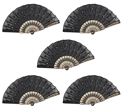 Set of 5 Black Chinese Japanese Lace Floral Folding Hand Pocket Fans