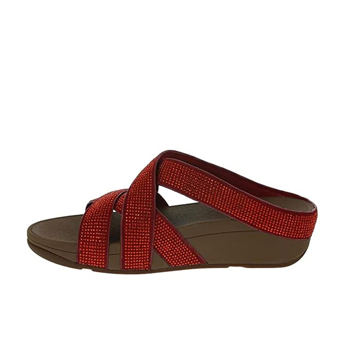 c318a3c52aff FitFlop Slinky Rokkit Criss-Cross Slide Sandals Poppy Red UK4 Poppy Red   Amazon.co.uk  Shoes   Bags
