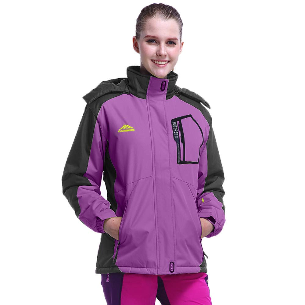 UONQD Women's Winter Outdoor Cashmere Thickening Zipper Hoodie Sport Outdoor Coat(Large,Purple)