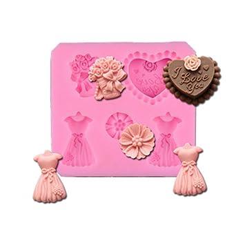 Molde de silicona para tartas de chocolate con forma de flor, 2 unidades: Amazon.es: Hogar