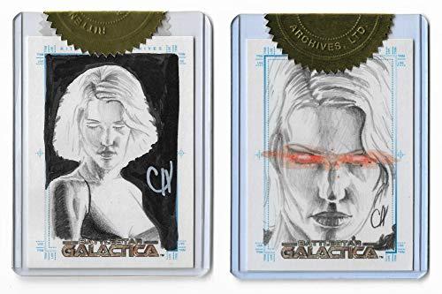 2005 Battlestar Galactica Premiere Edition Case Topper Sketch/SketchaFEX 2 Card Set By Artist Chris Henderson ()