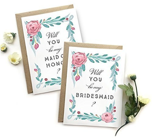 5 Pack - Will You Be My Bridesmaid Cards (4), Maid of Honor Card (1) - Assortment Pack of 5 - Rustic Floral Multicolored Wedding Party (French Maid Party)
