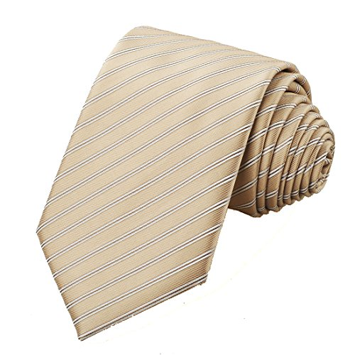 KissTies Mens Champagne Wedding Tie Tan Striped Suit Necktie + Gift Box