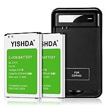 LG G3 Battery Kit, YISHDA 2 x 3000mAh Li-ion Batteries for LG G3 BL-53YH D855 D852 VS985 with LG G3 Spare Battery Charger | LG G3 Battery | LG G3 Spare Battery [18 Month Warranty]
