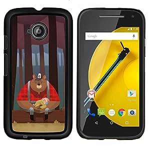 """For Motorola Moto E2 / E 2nd gen Case , Oso Leñador Red maderas marrón"""" - Diseño Patrón Teléfono Caso Cubierta Case Bumper Duro Protección Case Cover Funda"""