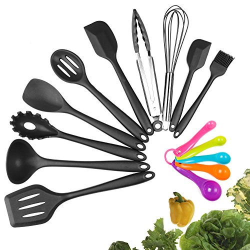Silicone Kitchen Utensils - Silicone Kitchen Utensil Set, 10 Piece Best Kitchen Utensils, Non-Stick Cooking Utensils Set, Heat Resistant Kitchen Gadgets with Solid Core for Cooking Baking BBQ (Black)