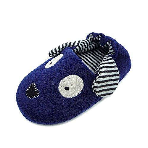 (QGAKAGO Toddler Boys Puppy Cotton Warm Winter Non-Slip House Slipper (6-7 M US Toddler, Navy Blue))